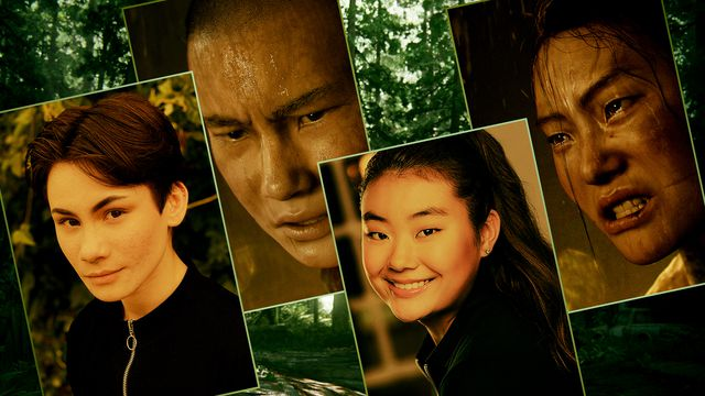 Graphic grid featuring four images: portraits of a male and a female actor and the characters they play in the Last of Us Part 2