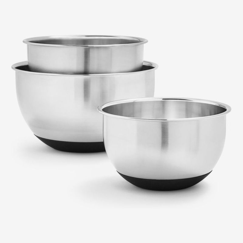 Set of three stainless steel mixing bowls