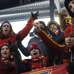 Real Salt Lake fans cheer as they get set for the game between Sporting KC and RSL at Sporting Park Saturday, Dec. 7, 2013 in MLS Cup action.