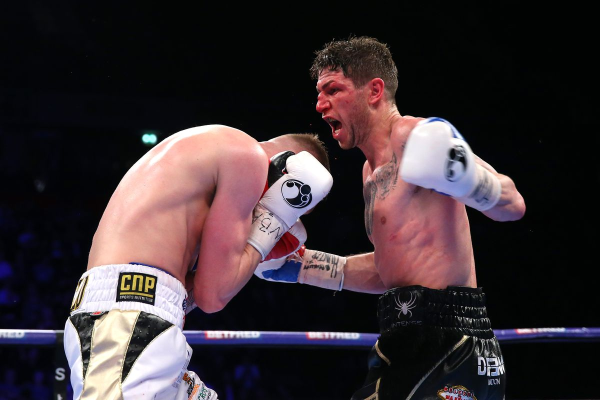Jack Arnfield (White Shorts) fights Brian Rose (Black Shorts) during the International Middleweight match between Brian Rose and Jack Arnield at Manchester Arena on March 25, 2017 in Manchester, England
