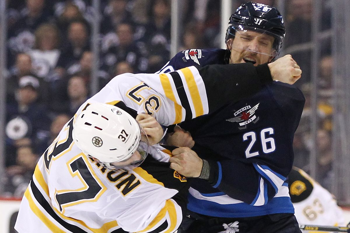 284f3d510a4 WATCH  Patrice Bergeron fights Blake Wheeler - Stanley Cup of Chowder