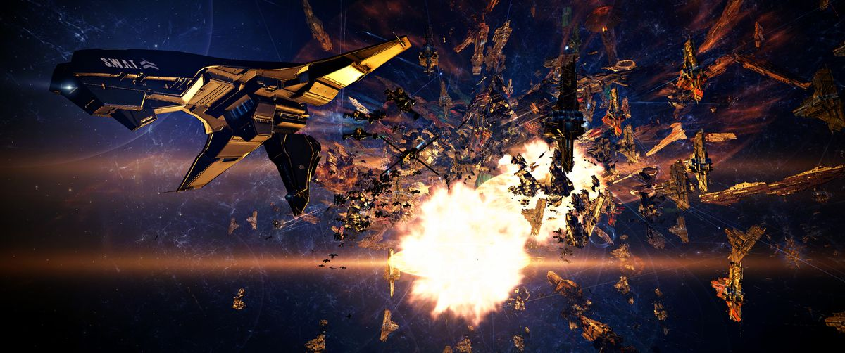 Further from the center of the battle, a player ship flees the blast radius of an enemy titan.