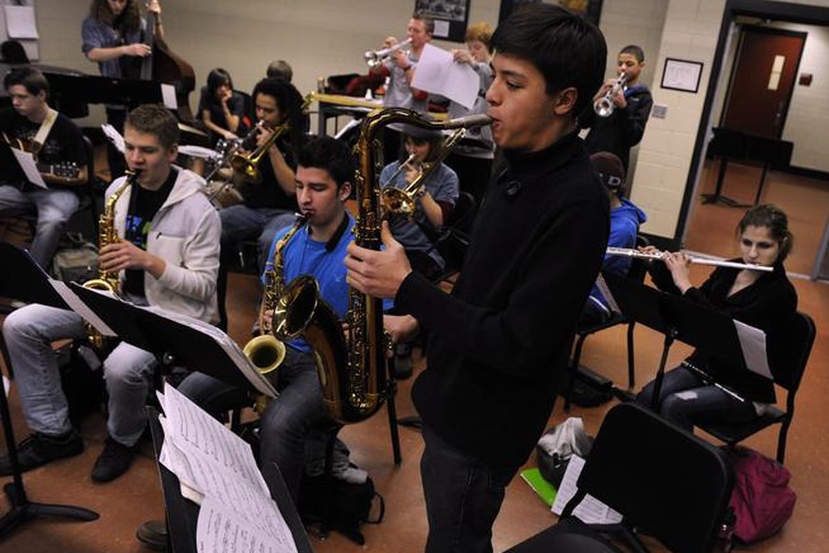 The saxophone section is front and center at a 2015 Denver School of the Arts Jazz Workshop Orchestra rehearsal (Photo By Kathryn Scott Osler/The Denver Post).