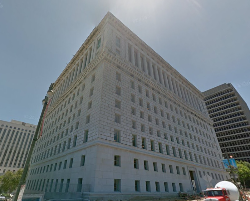 The exterior of the Hall of Justice in Los Angeles.