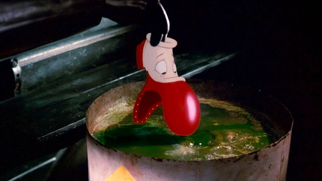 A red and white cartoon shoe gets lowered into The Dip in Who Framed Roger Rabbit