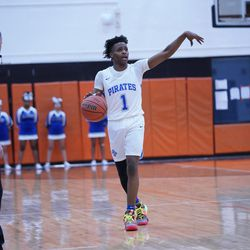 Proviso East's Devin Spencer (1) guides his offense against Lane, Wednesday 02-27-19. Worsom Robinson/For Sun-Times