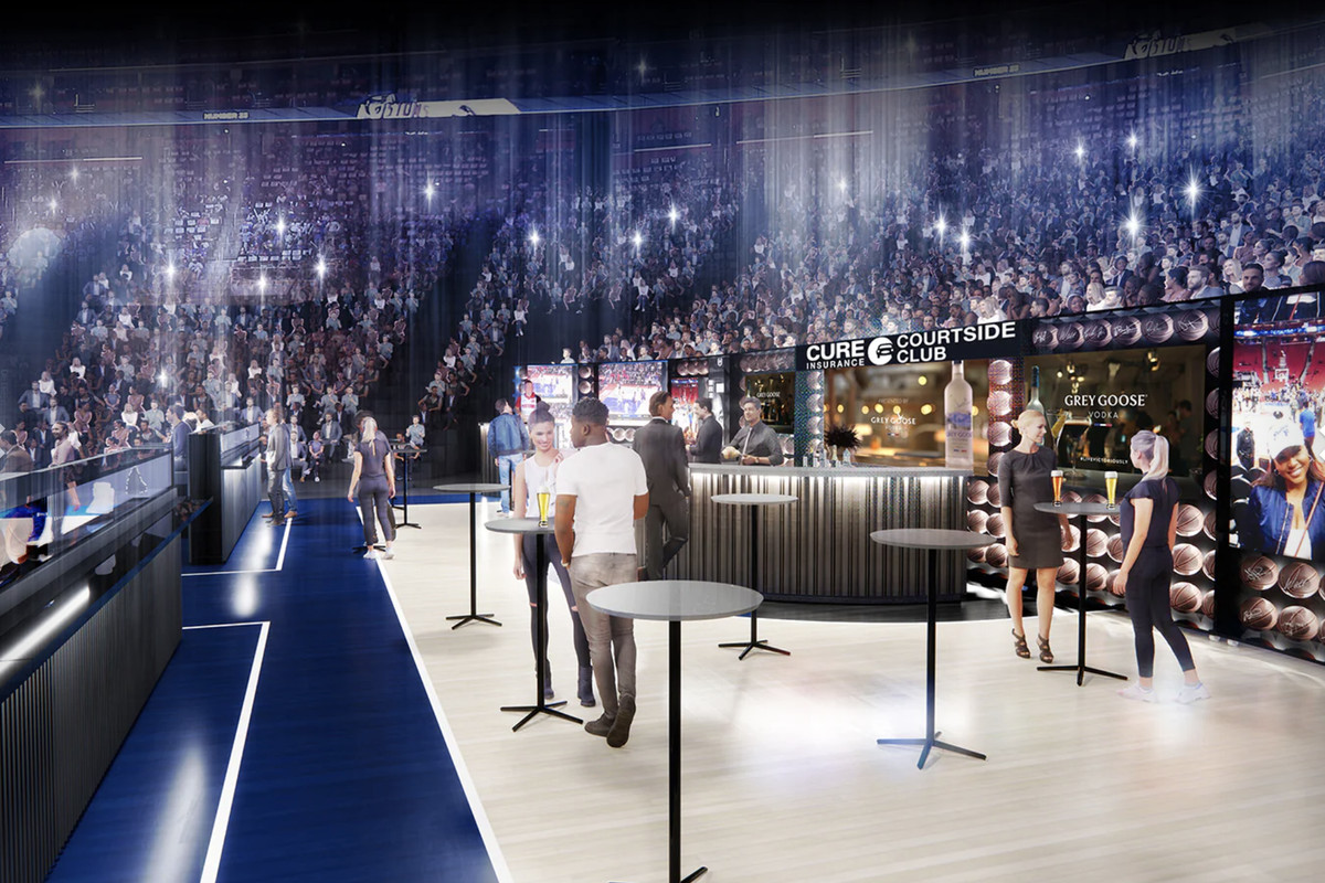 An artist rendering shows a bar with standing tables behind the basket on a basketball court