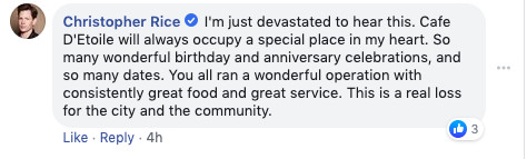 A status update on Cafe D'Etoile's Facebook page