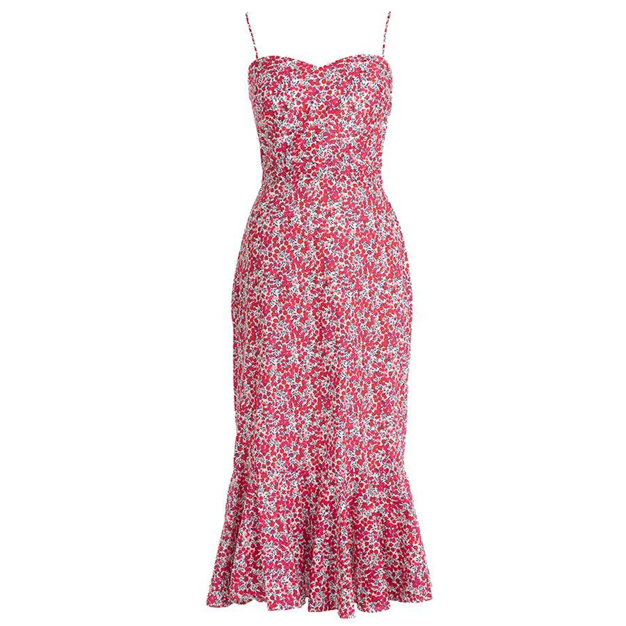 pink floral dress.