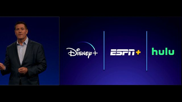 Disney Plus, ESPN Plus, Hulu icons on a blue background with vertical lines between them