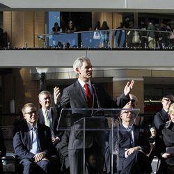 Salt Lake City Mayor Ralph Becker speaks as City Creek Center opens in Salt Lake City, Thursday, March 22, 2012.