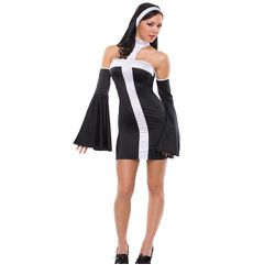 """This is """"Naughty Nun"""" costume. Is she wearing bell-bottoms on her arms?"""