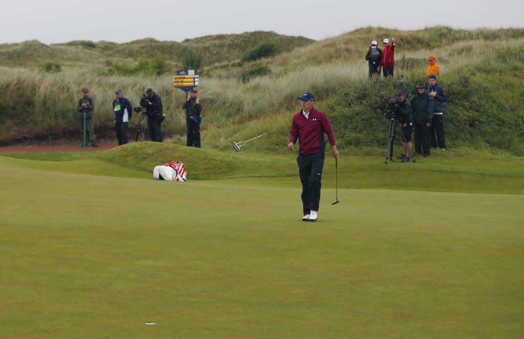Jordan Spieth of the United States putts a birdie on the 11th hole during the second round of the British Open Golf Championship.   Alastair Grant/Associated Press