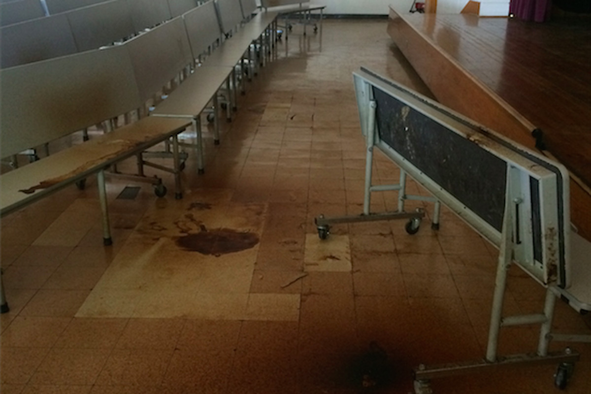 Water from a leaky roof has left behind damage to the cafeteria at Libertas School of Memphis.