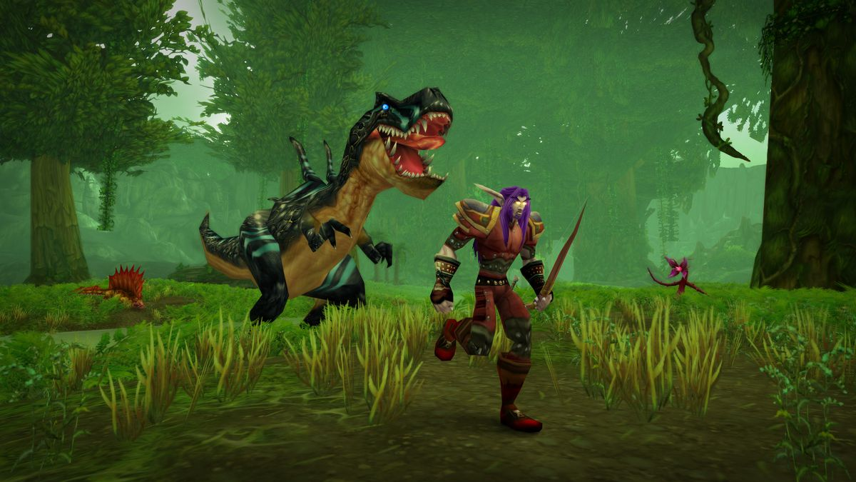 World of Warcraft - a Night Elf hunter with purple hair and leather gear runs from a roaring dinosaur.
