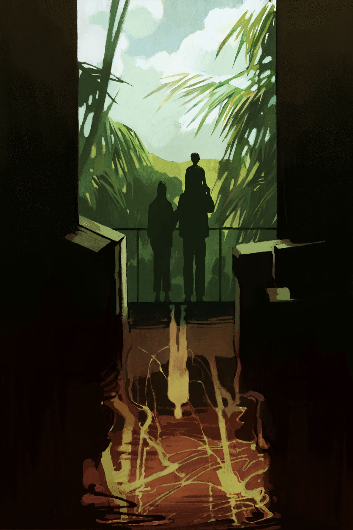 Family overlook green verdant landscape with dark brown dystopia reflected beneath them
