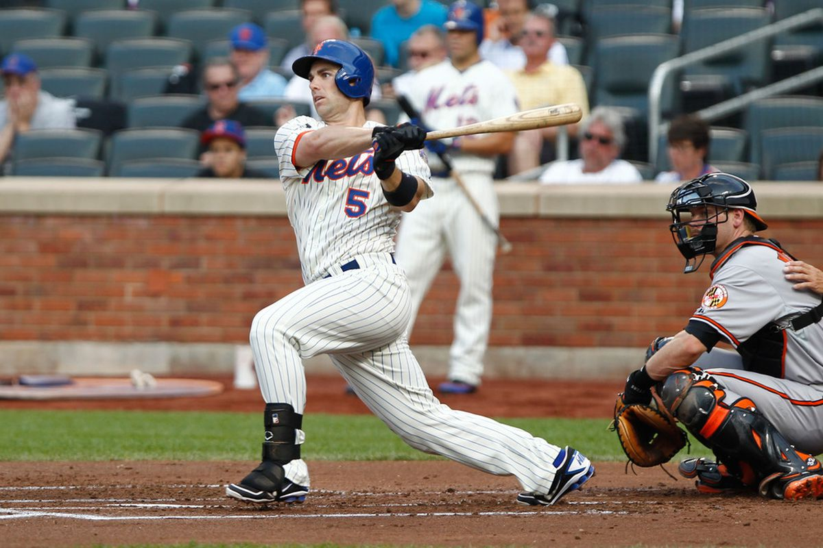 June 20, 2012; Flushing, NY, USA; New York Mets third baseman David Wright (5) singles to left against the Baltimore Orioles during the first inning at Citi Field. Mandatory Credit: Debby Wong-US PRESSWIRE