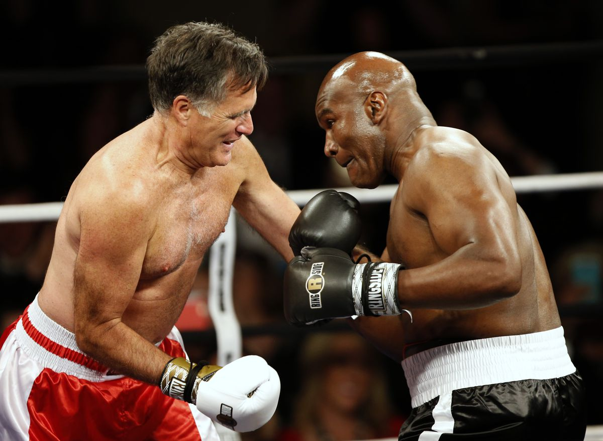 Mitt Romney Takes On Evander Holyfield In Charity Boxing Event