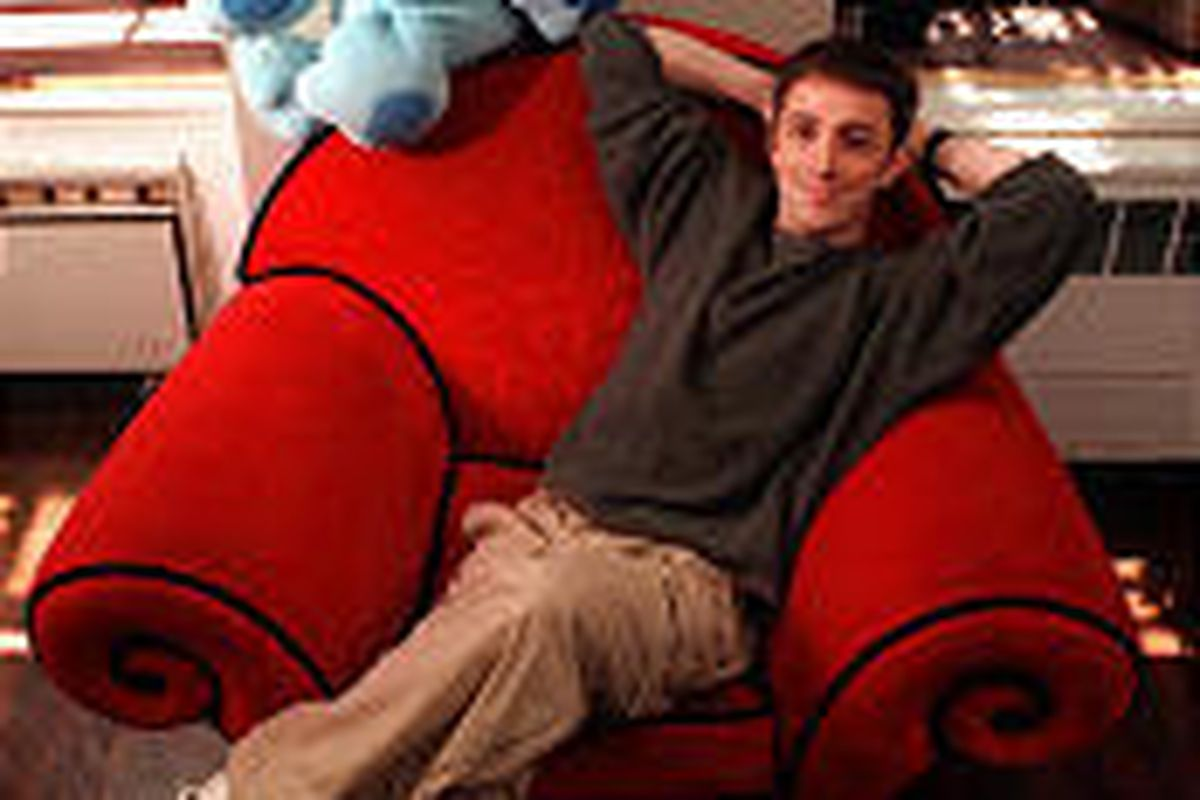 """Steve Burns, departed host of """"Blue's Clues,"""" has a new rock album titled """"Songs for Dustmites."""" He uses the big red chair as a drum kit."""