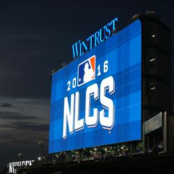 NLCS logo, just before game time