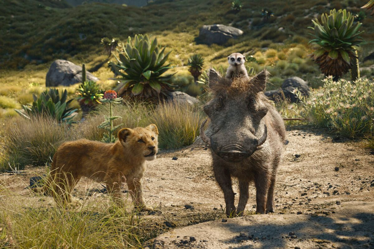 """Simba, Pumba and Timon in a shot from """"The Lion King"""" movie"""