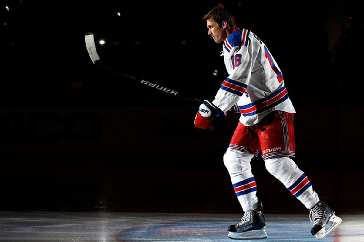 Marc Staal of the New York Rangers is introduced during the Honda NHL SuperSkills competition part of 2011 NHL All-Star Weekend at the RBC Center on January 29 2011 in Raleigh North Carolina.  (Photo by Kevin C. Cox/Getty Images)