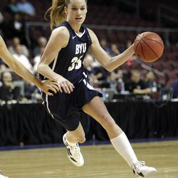 Brigham Young Cougars forward Kristen Riley (35) drives to the basket  in the West Coast Conference finals in Las Vegas  Monday, March 5, 2012.  BYU won the title and will advance to the NCAA tournament.