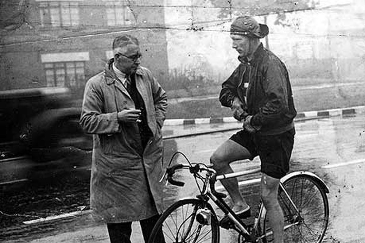 Godwin on the day he broke the record, pictured with Cycling's editor, HH England