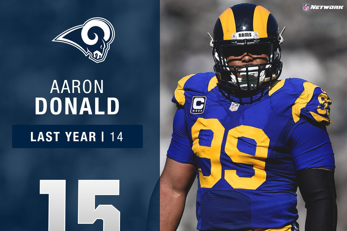 3889d8a55 Los Angeles Rams DT Aaron Donald  15 in NFL Top 100 - Turf Show Times