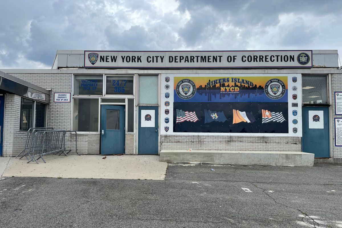 A building at the entrance to Rikers Island was open year round for people to pick up valuables, July 1, 2021.