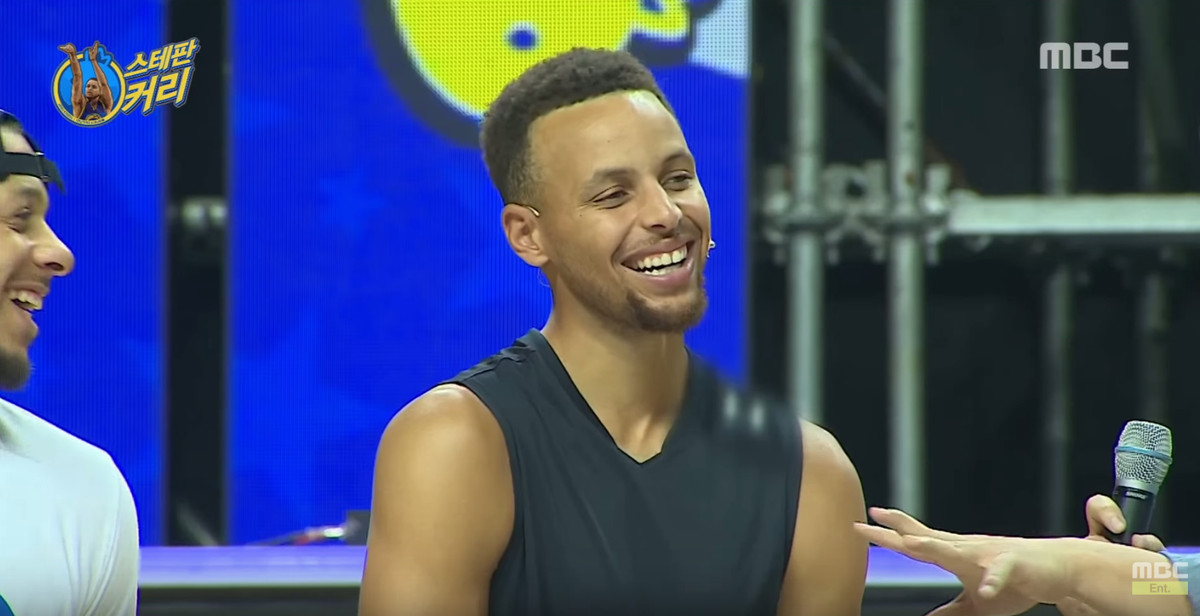 A shot of Stephen Curry smiling