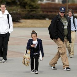 BYU student Kelsey Morasco walks to class on campus in Provo Feb. 15, 2012.