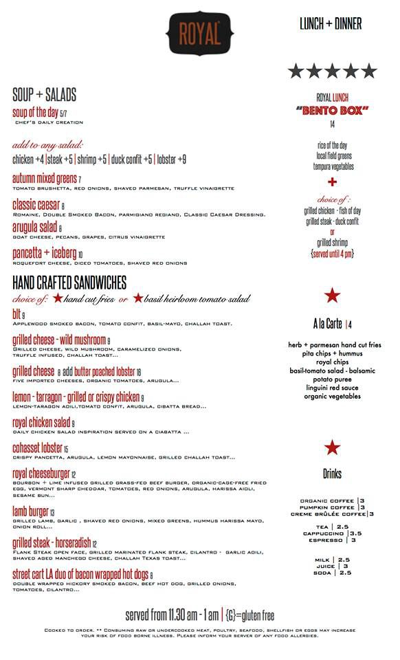 Royal lunch and dinner menu