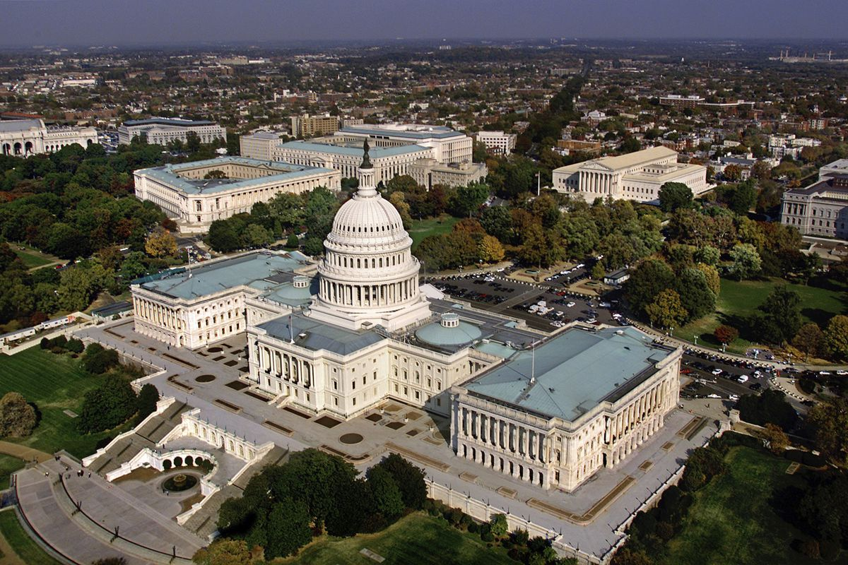 FILE - In this Oct. 24, 2001, file photo, the United States Capitol in Washington, D.C. is shown in an aerial view. The GOP-led Congress is hoping to approve a must-pass spending bill as the clock ticks toward potential government shutdown this weekend.