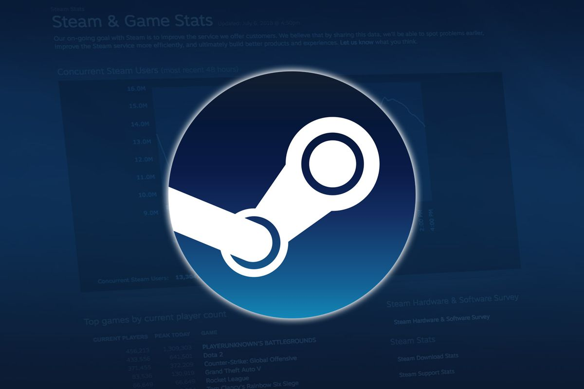 Steam logo on blue background