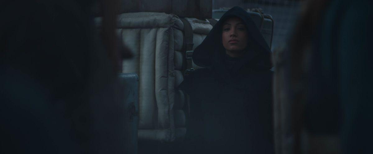 "Sasha Banks in ""The Mandalorian"" season 2 trailer."