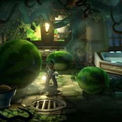 <em>Luigi's Mansion 3</em> 7F clear gem location in the ivy bathroom.