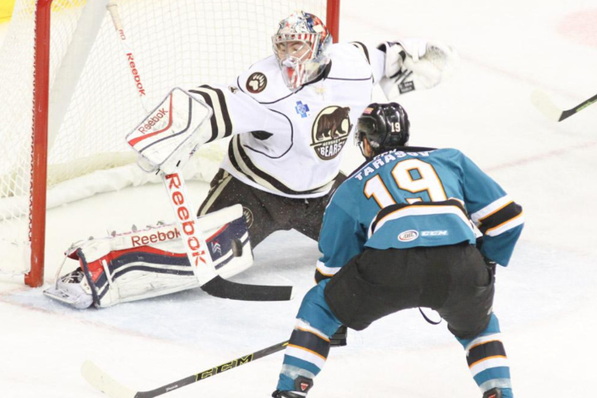 Worcester Sharks forward Daniil Tarasov is robbed of a goal from point blank range by Hershey Bears goaltender Philipp Grubauer during the first period of Saturday's game at the Giant Center (Twitter.com/chochockey).