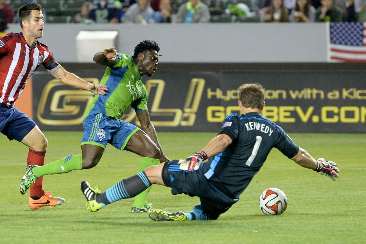 Obafemi Martins spent much of the game trying to get in behind Chivas's high line
