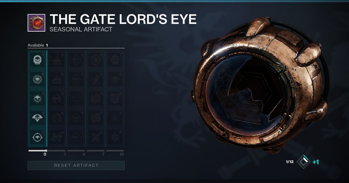 Destiny 2's Seasonal Artifact, The Gate Lord's Eye, which has a unique upgrade menu.