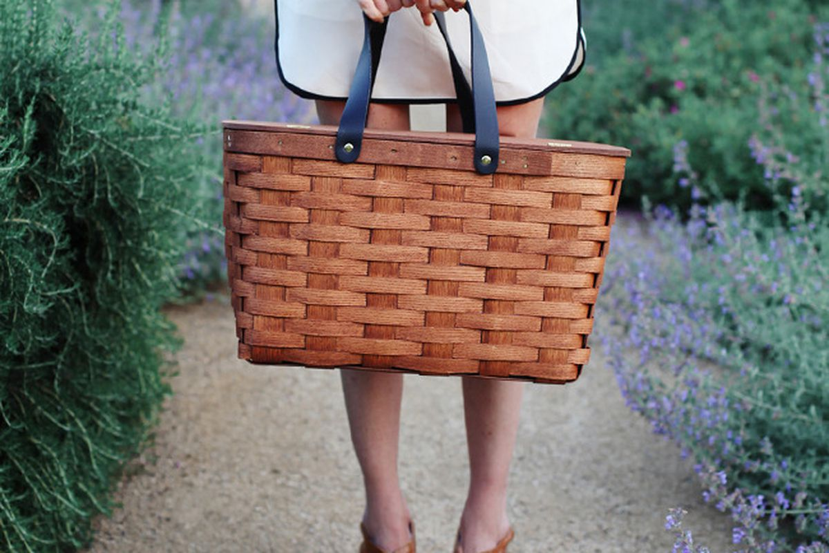 """A Sunny Afternoon picnic basket, <a href=""""http://www.asunnyafternoon.com/product/picnic-basket"""">$125</a>"""