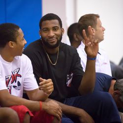 Andre Drummond flips a peace sign at the camera.