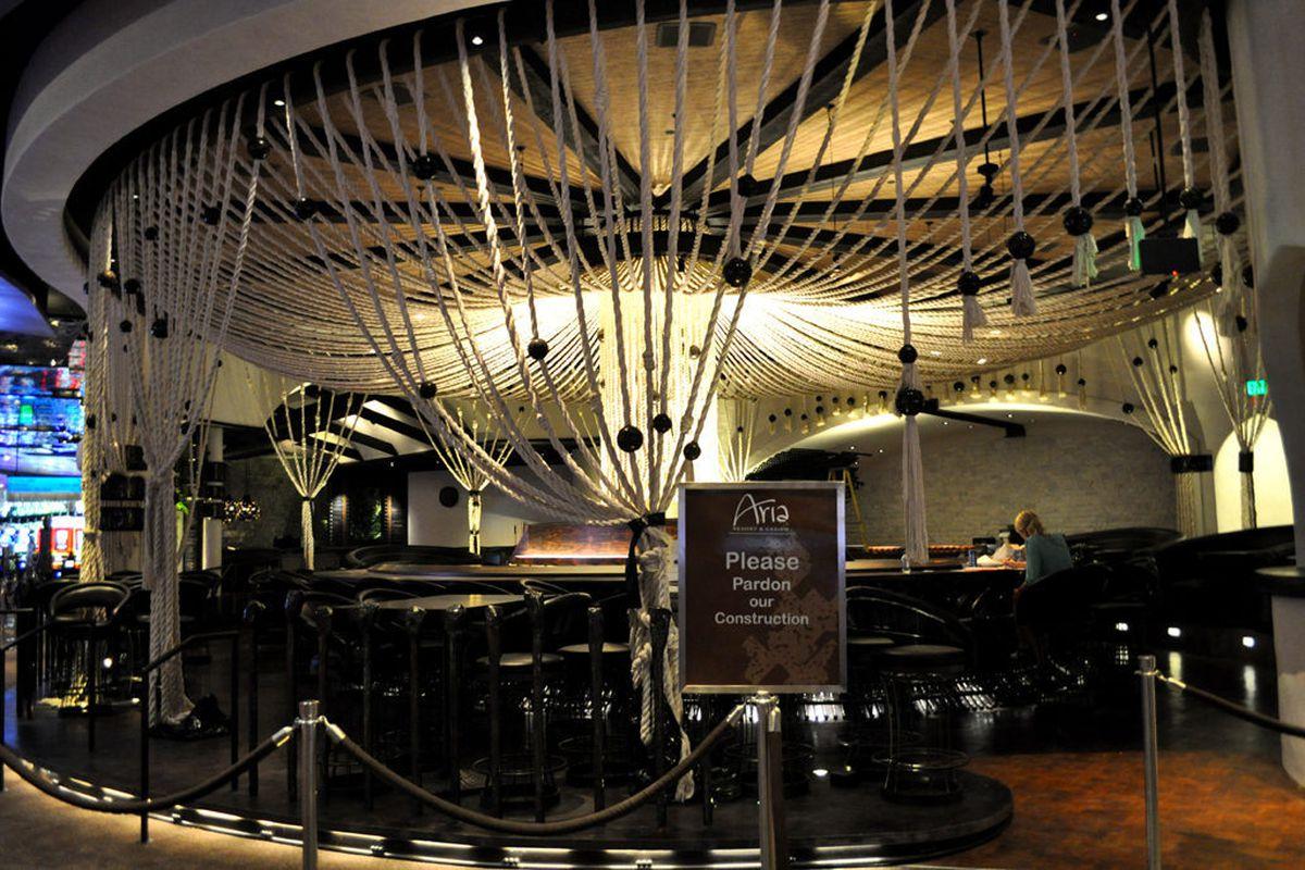 Chandelier beads surround Javier's massive bar the portrudes onto the casino floor.