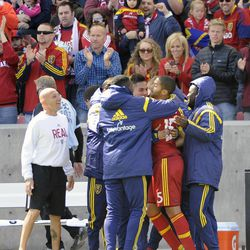 Real Salt Lake forward Alvaro Saborio (15) is congratulated by the bench after a goal against the Los Angeles Galaxy during a game at Rio Tinto Stadium on Saturday, March 22, 2014.