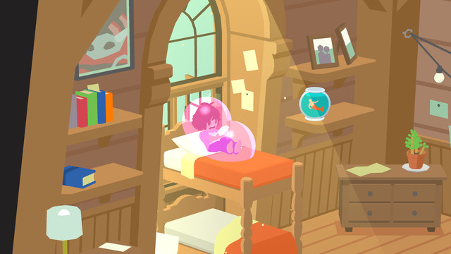 A character in Guildlings trapped in a bubble inside a bedroom