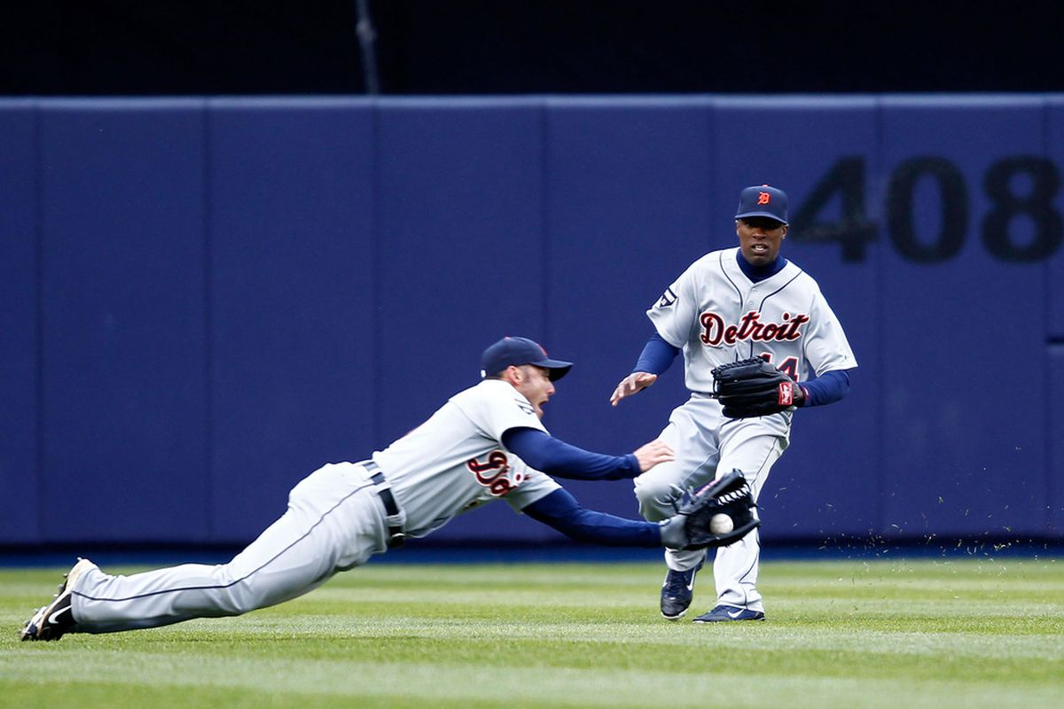 Ryan Raburn makes a diving catch against the Yankees on opening day.