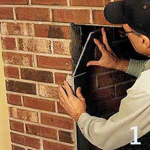 <p>Cover up the ends of the bricks on both sides of the firebox with slate tiles cut 35/8 in. wide.</p>