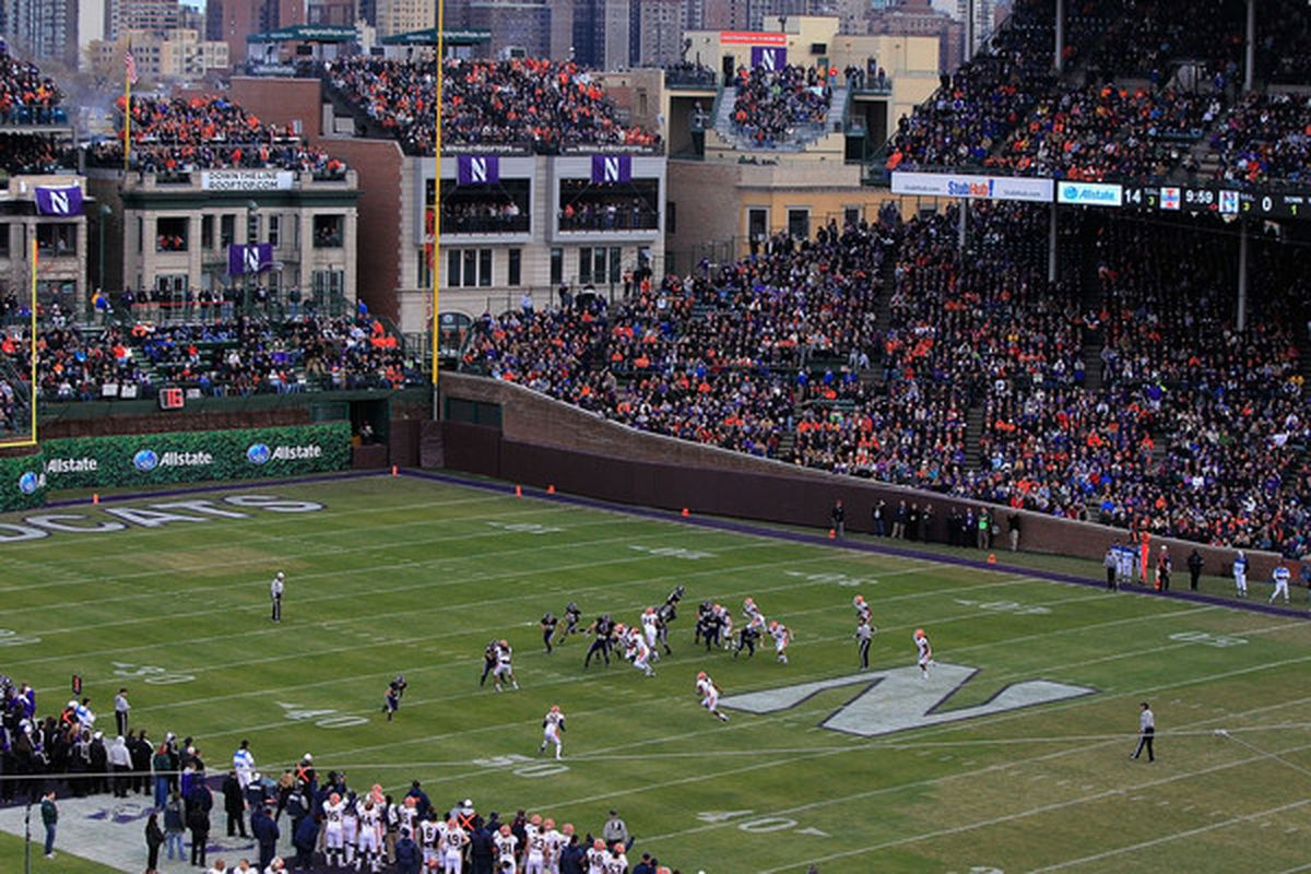 CHICAGO - NOVEMBER 20: A general view as the Northwestern Wildcats take on the Illinois Fighting Illini during a game played at Wrigley Field on November 20 2010 in Chicago Illinois. (Photo by Jonathan Daniel/Getty Images)