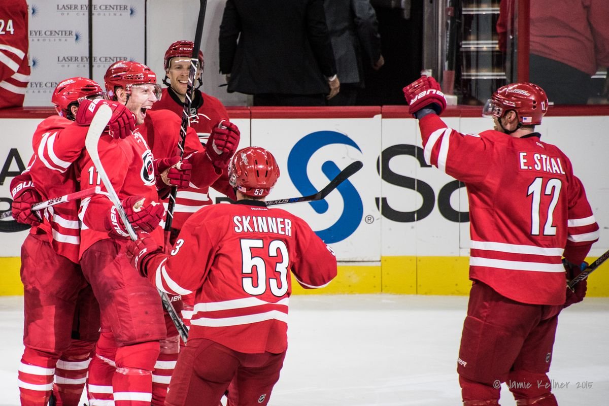 Happy times in Raleigh on Nov. 7 after Jeff Skinner ties the game with 3 seconds remaining and Jordan Staal scores the game-winner in overtime.