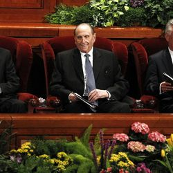 President Henry Eyring, President Thomas S. Monson, and President Dieter Uchtdorf attend the 182nd Annual General Conference for The Church of Jesus Christ of Latter-day Saints at the LDS Conference Center in Salt Lake City on Saturday, March 31, 2012.